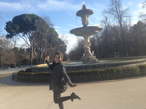 Ana enjoying Retiro on a beautiful spring-like winter day.