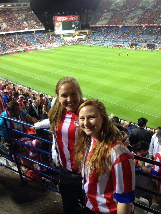 Soph and I supporting Atlético de Madrid back in April! Now the champions of la Liga!