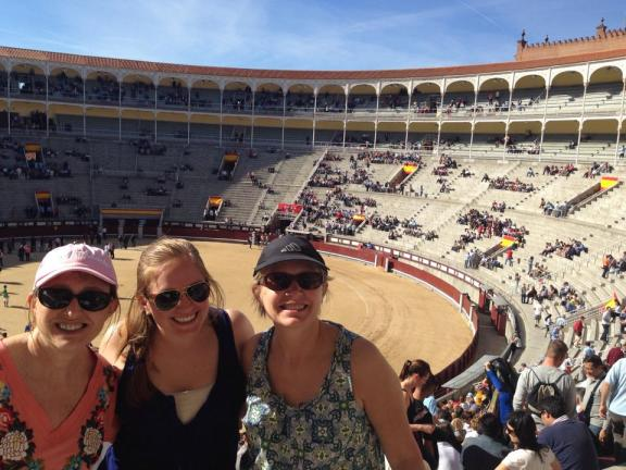 Aunt Wendy, Kate & Mom at the Bull Fight in Madrid (Las Ventas)