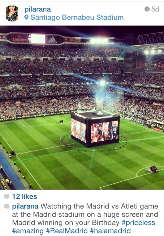 My friend Pilar celebrated her birthday watching Madrid win the Champions League and earning a 10th title!